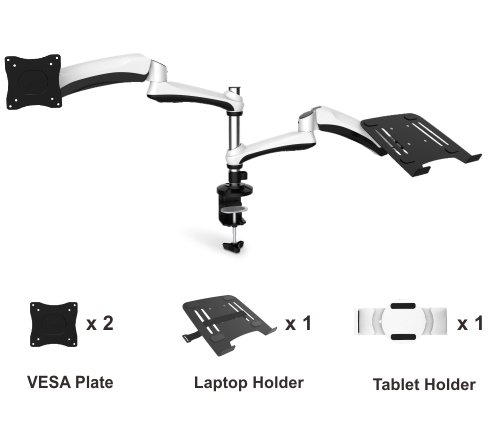 """CNCT Counterbalance LCD Desk Mount - Desk Stand - Table mount bracket - Clamp Type for Dual (2) 27"""" Display - TV - LED - LCD - Monitor - All in One PC"""