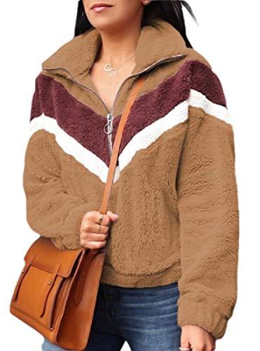 ShuangRun Damen Herbst Winter Langarm Reißverschluss Sherpa Fleece Pullover Jacke Mantel Gr. XS, 2 -