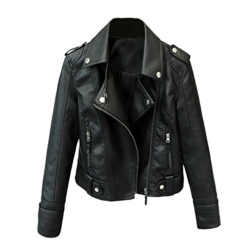 iBaste PU Lederjacke Damen Bomberjacke Leather Jacket für damen Revers Bikerjacke Kurzjacke Hebrstjacke-3XL