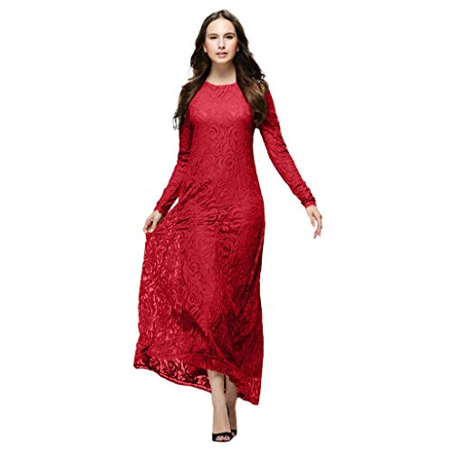 Muslimische Kleider Yesmile Vintage Langarm Kleid Frauen Spitze Patchwork Knöchellang Kleider Tunika Abaya Dubai Damen Casual Abendkleid Hochzeit Kaftan Robe Muslim Lang Maxikleid