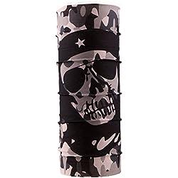 Autofy Unisex Skull Camouflage Print Lycra Headwrap Bandana for Bikes (Black and Grey, Freesize)