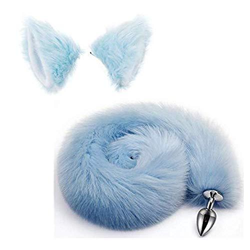 Kostüm Fluffy Fox Tail - Bnmgh Blue Fluffy B-ütt P-l-ǔ-g Fox Tail, Cat Ears Headband Cosplay Role Play Halloween Toys Make Life Wonderful 2Pcs/Set