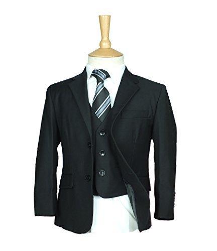 SIRRI Italienisches Design Jungen Anzug schwarz, Alles in eins Formelle Pagenjunge Hochzeit Ball Kommunion Anzug - Schwarz, EU 170