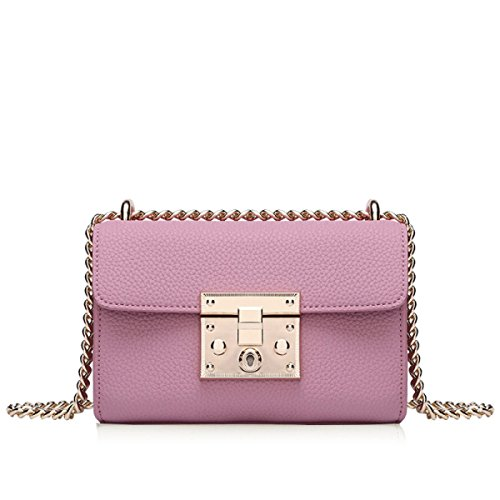 Vera Pelle Anti-Theft Platinum Borsa Mini Singola Spalla Crossbody Bag Pink