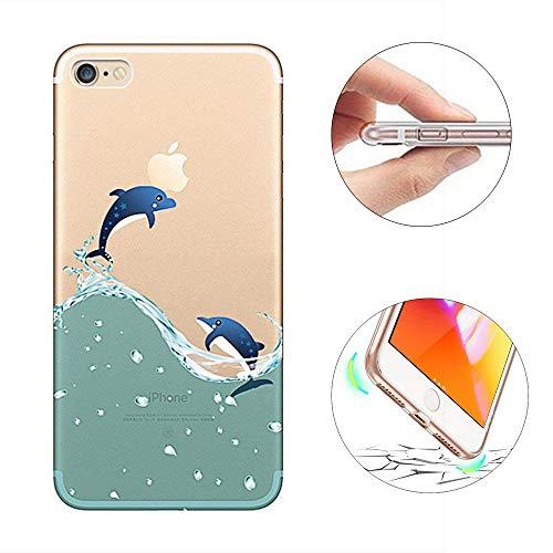 KeKeYM für iPhone 7 Hülle, für iPhone 8 Hülle, Transparente Silikon Ultra Thin Leichte Hülle mit 3D Einzigartige Clear Nette Kreative Hülle für iPhone 7 iPhone 8 4.7 Zoll - Delphin