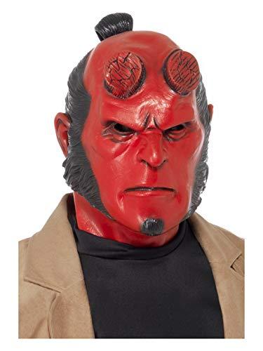 Hellboy Kostüm Hörner - Halloweenia - Kostüm Accessoires Zubehör Herren Latex Maske Hellboy, perfekt für Karneval, Fasching und Fastnacht, Rot