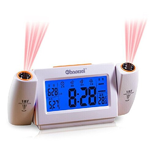 LEORX Premium Qualität drehen Projektion Wecker mit Snooze Datum Temperatur LED Hintergrundbeleuchtung Anzeige