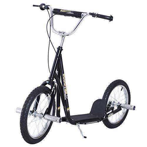 HOMCOM Premium Monopattino Scooter a rotelle 16 pollici Cityroller per bambini e ragazzi, nero
