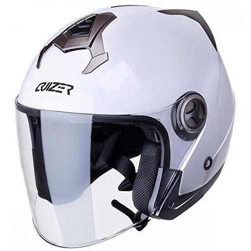 CRUIZER - Casco per moto e scooter Demi Jet omologato con doppia visiera, interno sfoderabile e lavabile, chiusura con fibbia micrometrica (Bianco, L)
