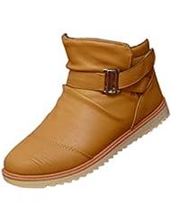 Gleader Nuevos hombres de invierno caliente Casual de cuero altos Top holgazanes Zapatos Botines Zapatillas Amarillo (Tamano:42)