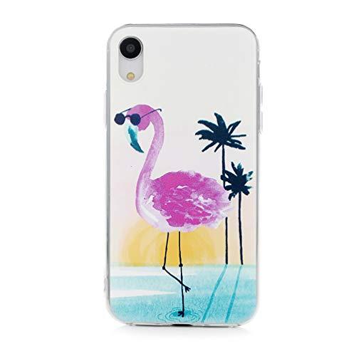Mlorras iPhone XR Hülle, Ultradünnen Weich Flexibel Silikon TPU Schutzhülle Bumper Anti-Kratzer Stoßfest Smartphone Handyhülle Abdeckung Case Cover Perfekte Passform Gläser Flamingo