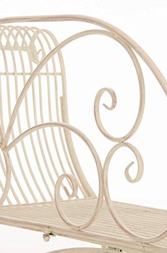 CLP Eisen-Gartenbank KARMA, Recamiere rechts, romantische Verzierungen,stabile Bank, Sonnenliege, ca. 160 x 50 cm, Antik Creme - 7