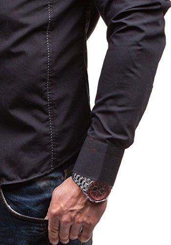 BOLF Herren Langarm Herrenhemd Figurbetont Freizeit Classic Slim Fit BY MIRZAD 6859 Schwarz