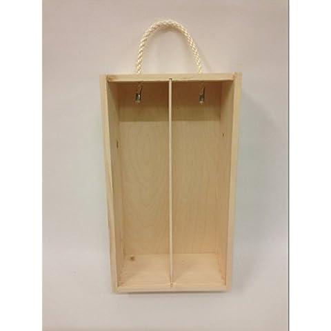 Caja de madera para el vino con tapa deslizante y cuerda Souvenir Día de la Madre Navidad Regalo - 2 botellas - 35x 21x