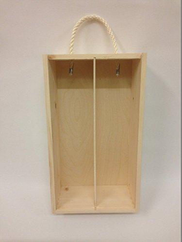 Caja de madera para el vino con tapa deslizante y cuerda Souvenir Día de la Madre Navidad Regalo - 2 botellas - 35x 21x 11cm