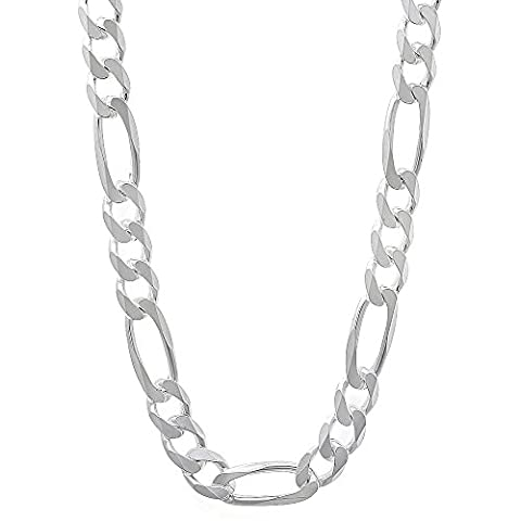5.5mm Solid 925 Sterling Silver Figaro Link Italian Crafted Chain, 50 cm