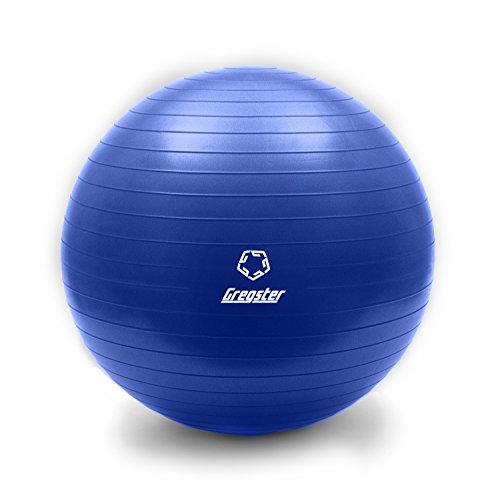 Gregster Gymnastikball, gut geeignet als Fitnessball, Yogaball oder Pilatesball, 65 cm, blau
