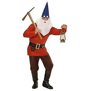 WIDMANN 01361?Adultos Disfraz Enano, chaqueta, pantalones, cinturón con funda, zapatos überzieher, sombrero con orejas, Cejas, color rojo