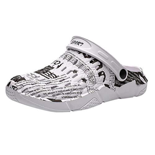Gartenschuhe Slip-On für Herren/Skxinn Männer Hausschuhe Atmungsaktiv Mesh Pantoletten Slip-on rutschfest Walking Sandalen Bequem Flache Sommer Schuhe Ausverkauf(Z4-Grau,38 EU)