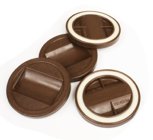 Slipstick CB845 Bed Roller / Furniture Wheel Gripper Castor Cups (Set of 4) 84 mm Round Caster Cup Floor Protectors, Brown