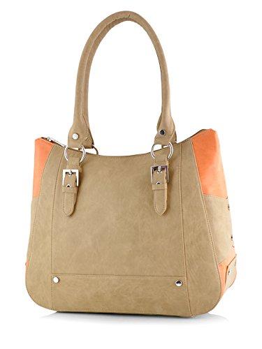 Butterflies Women\'s Handbag (Beige) (BNS 0546BG)