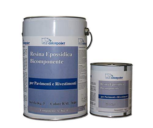 RESINA EPOSSIDICA BICOMPONENTE PER PAVIMENTI LUCIDA 5 Kg 45-50 Mq Circa (Grigio RAL 7040)