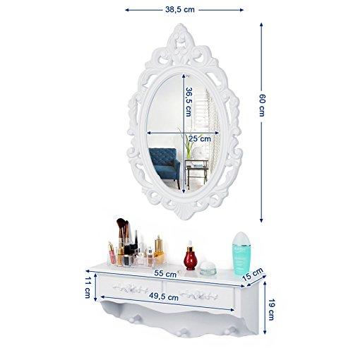 Songmics kleine Schminktisch 2 Schubladen Wandkonsole mit Spiegel, Haken Landhaus weiß RDT16W - 3