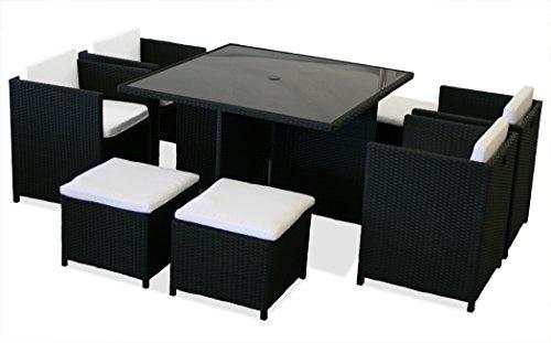 KMH®, 21-teilige Polyrattan Sitzgruppe 'London' schwarz (inklusive Auflagen und Kissen) (#106114)