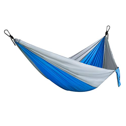 Yoyun Hamaca, Ultra Ligera Viaje Camping Hamaca, 300kg de Capacidad de Carga, (270 x 140 cm) Paracaídas Portátil de Nylon Doble Hamacas para Jardín Interior al Aire Libre (Azul)