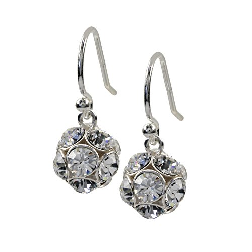 rhaken Ohrringe Ohrhänger Sterling-Silber 925 Kristall weiß (Silber Disco Kugel Ohrringe)