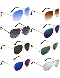 b82cec1e517 Dervin Aviator Men s and Women s Sunglasses Combo (Multi-Coloured) - Pack  of 8