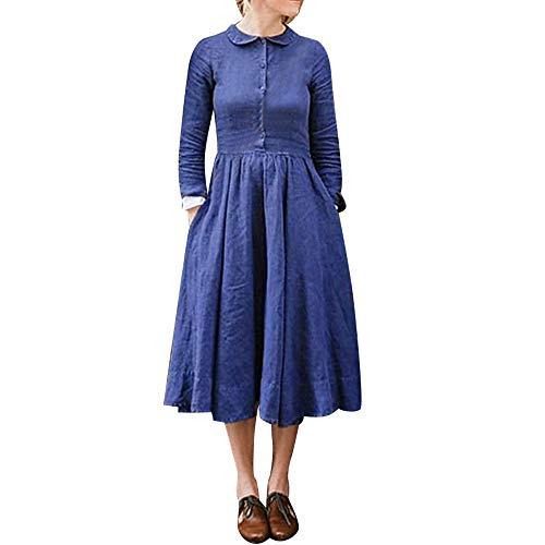YCGG Frauen Langarm Tasche Casual Lose T-Shirt Kleid Damen Winter Baumwolle Knopf Langarm Solid Casual Boden Flare Dress -
