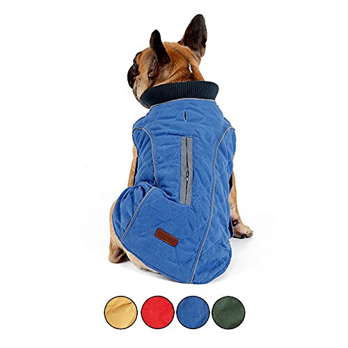 HongYH Hundemantel Cozy Windproof Britischen Stil Plaid Hund Jacke Warme Hund Weste Dressing mit Reflektierende Gürtel Weste Haustier Wintermantel -