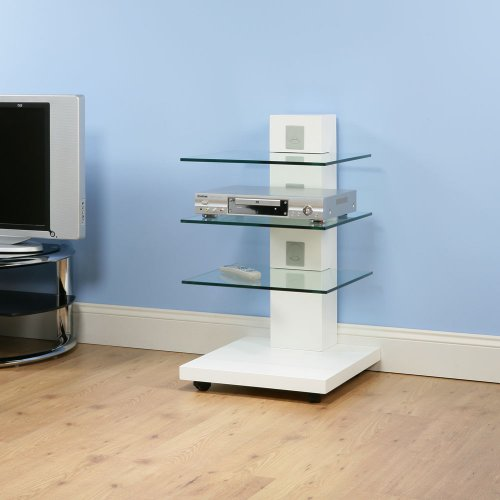 Hi Fi / TV Stand / Cabinet / Shelving White Gloss, Glass Shelves A114