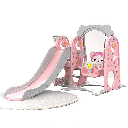 KYLINDRE 3-in-1 Kinderplastikrutsche mit Swing & Climbing Walls, 1,8 m Super Long Slides mit Safety Handrail & Water-gefüllter Base, Sturdy Toy Indoor for Kids Fun,Pink