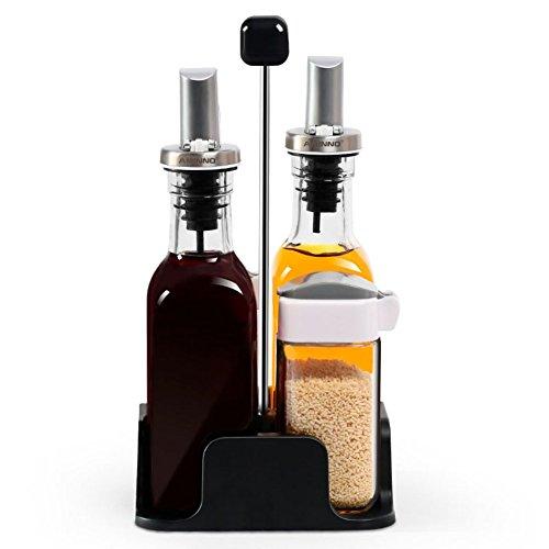 Glas Rostfrei Gewürz Drehen Pfefferstreuer,Öl Multifunktional Zuhause Pulverisiert Gewürze Zoll Geschirr Salz Chili Pfeffer Stehlen Feinheit Pfeffermühle Krug-A