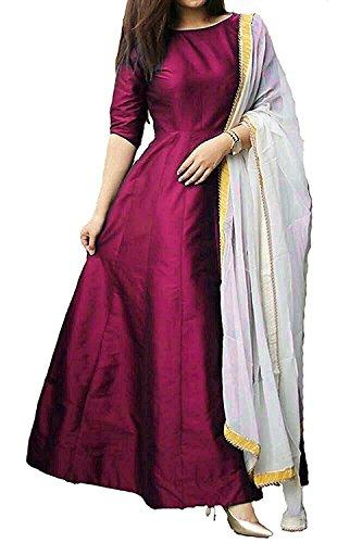 Purva Art Womens Wine Tapeta Silk Stitched Long Gown With Off White Dupatta (PA_1512_Wine_Tapeta Silk_Stitched_JFW-125) (Large)
