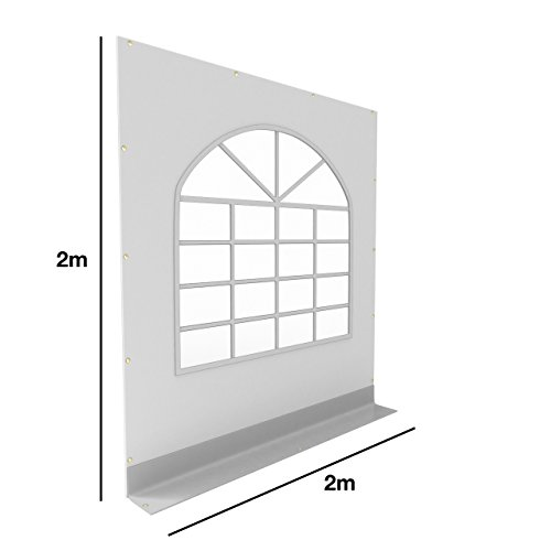 TOOLPORT PVC Seitenteil für Partyzelt Pavillon Gartenzelt 2x2m Seitenwand mit Fenster (rundbogen) grau-weiß -