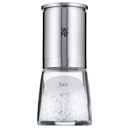 WMF De Luxe Salzmühle befüllt, Cromargan Edelstahl Glas, Keramikmahlwerk, spülmaschinengeeignet Gewürzmühle, für getrockente Kräuter -