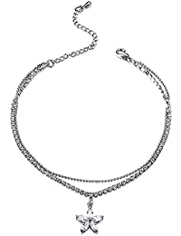 Young & Forever Navratri Jewellery & Diwali Gifts for Family and Friends Floral Odyssey Silver Plated Floral Charm Daily Wear Anklet for Women/Girls A33