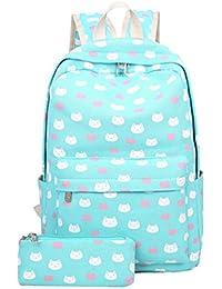 YuanDian Niña Adolescente Lienzo Impresión Mochila Escolar Moda Chicas Vuelta Al Cole Escolares Bolsas Mochilas Bookbags (Bolsa de lápiz…
