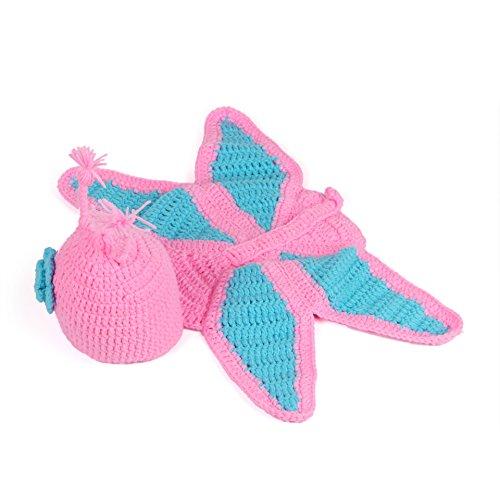 Kinder Baby Strick Mütze Fotoshooting Neugeborene Schmetterling Muster Design Hut Kostüm Hüte (rosa)