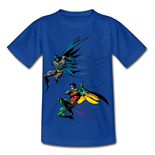 Spreadshirt DC Comics Batman and Robin Kinder T-Shirt, 110/116 (5-6 Jahre), Royalblau