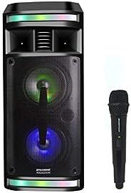 DYNASONIC DY-65201 - Altoparlante Bluetooth wireless, sistema audio, portatile, USB, luci multicolori, radio F