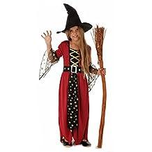 Magische Hexe - Hexenkostüm für Kinder Halloween rot-schwarz-gold mit Hut - Hexenkostüm Mädchen