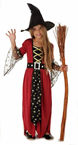 Magicoo Magische Hexe, Hexenkostüm Kinder Mädchen rot-schwarz-Gold & Hexenhut - Schickes Halloween Kostüm Hexe Kind- Gr. 120/130 (Medium), Rot-schwarz
