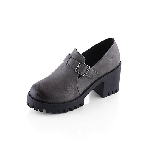 Damen Sneakers Einfache Kurzschaft Retro Plateau Warme Winterschuhe Grau