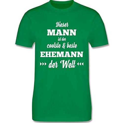Shirtracer Typisch Männer - Dieser Mann ist der Coolste und Beste Ehemann - Herren T-Shirt Rundhals Grün