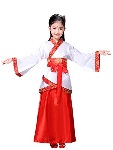 KINDOYO China Hanfu - Unisex Kinder Hanfu Chinese Retro Nationalkostüm,Rot (für Mädchen),EU 110=Tag 120