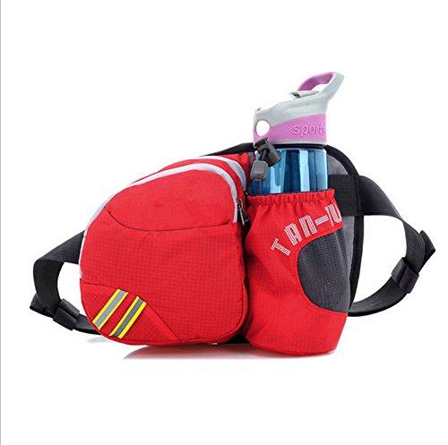 Unisex Wasserdichte Gürteltasche Hüfttasche Bunte Brust-Beutel Beiläufige Beutel mit Wasserflaschenhalter - Rose rot Rot